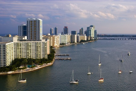 South Miami Beach Skyline with Highrise Buildings and Bayfront with Sailboats