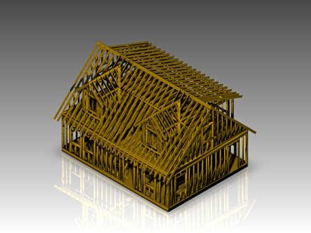 digitally rendered 3d illustration of a cape style house fram