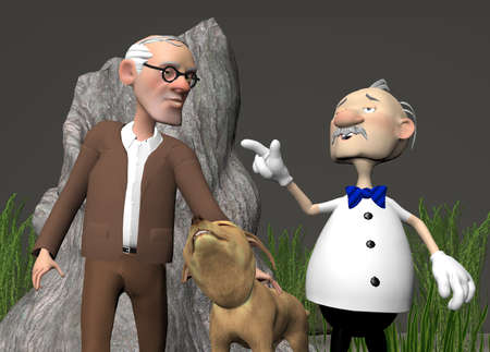 digtially rendered illustration of two senior citizens walking their dog