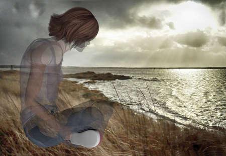 digitally rendered illustration of a semi-transparent woman at the Washington coast Stock Photo