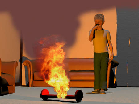 mesmerized: digitally rendered illustration of a boy and his burning hoverboard
