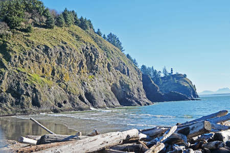 ocean state: The Pacific Ocean shore from Waikiki beach area of Cape Disappointment State Park on the Washington coast.