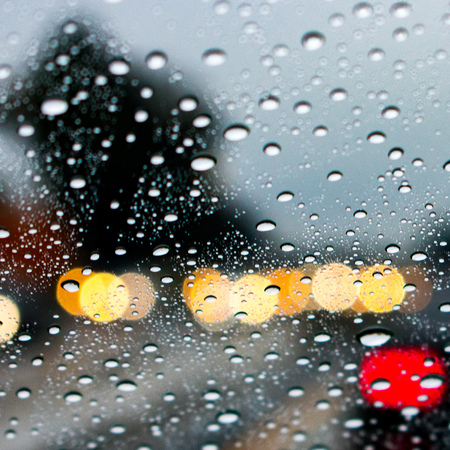 Bokeh shot of rainy road