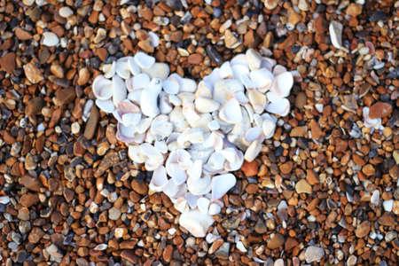 brighton beach: Love heart shape on the beach Stock Photo