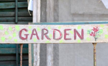Antieke Painted Garden Sign Stockfoto