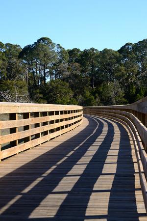 Houten Gang in Coastal Wetlands Stockfoto
