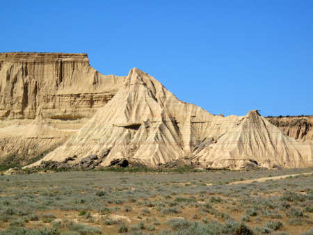 Landscape of the Bardenas Reales, Natural Reserve and Biosphere Reserve, Navarra, Spain Stock Photo