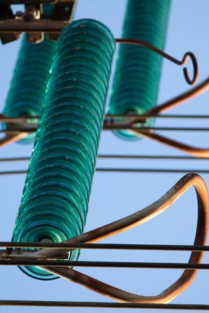 insulator: Electricity pylon glass insulator Stock Photo