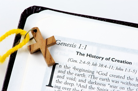 methodist: Close image of the beginning of Genesis from the bible Stock Photo