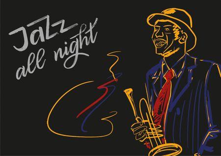 Jazz toute la nuit. Illustration pour les concerts de musique. Silhouette de joueur de saxophone sur fond noir. Couleurs rouges, jaunes, blanches. Script de lettrage à la main. Vecteurs