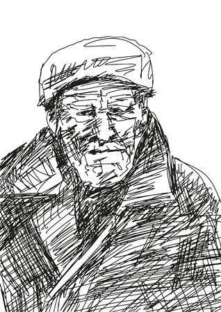 Worker in warm clothes and hat. Portrait of a lonely elderly man. Pencil sketching. Black isolated drawing. Vector. Ilustrace