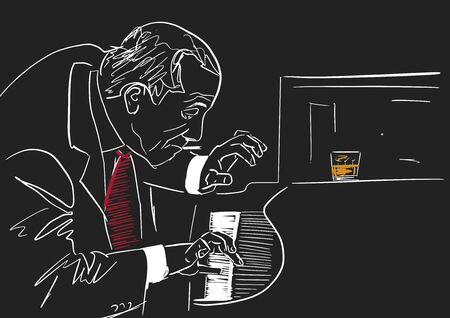 Piano player. White silhouette on black background. Old smoking musician plays the piano in club. A glass of whiskey is on the piano. Musical illustration. Vector.