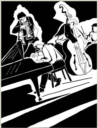 freehand illustration of an acoustic jazz quartet being improvised