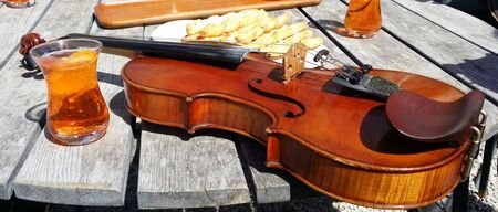 a violin resting on a table