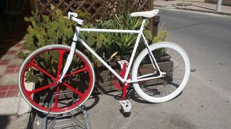 photo of a white bicycle