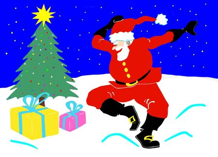 saint claus dancing on snow in front of the tree and the gift packages