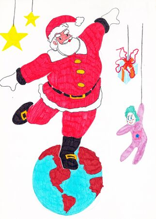 Freehand colored drawing of Santa Claus dancing over the whole world