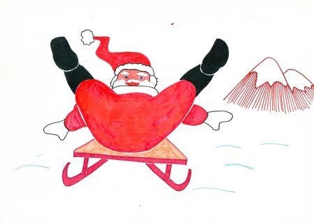 Freehand colored drawing of Santa Claus gliding fast on the sled