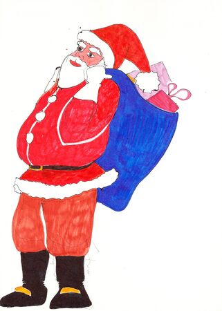 Freehand colored drawing of Santa Claus with sack full of presents 版權商用圖片
