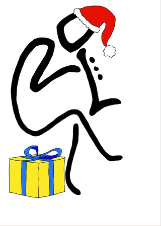 Freehand colored drawing of Santa Claus playing the trumpet sitting on a gift package 版權商用圖片