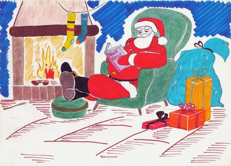 Freehand colored drawing of Santa Claus waiting for the epiphany by reading sitting in an armchair 版權商用圖片