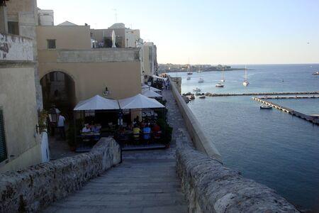 Otranto, Italy, Europe - July 11, 2016 Panorama of the city, the sea coast, the beach and bathers Editöryel
