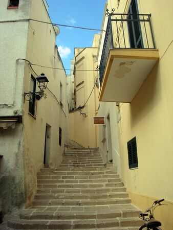 Otranto, Italy, Europe - July 11, 2016 Alleys and facades of historic buildings in the center