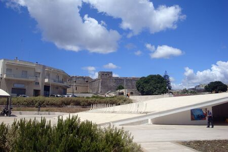 Otranto, Italy, Europe - July 11 2016 Main square with tourists