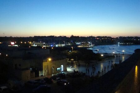 Otranto, Italy, Europe - July 11, 2016 Panorama of the city after sunset