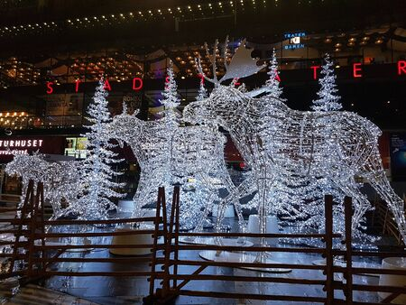 Stockholm, Sweden, Europe - december 15, 2017 Illuminated moose in the main square