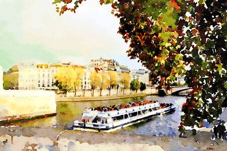 the tourist boat on the Seine in Paris Banque d'images - 132788714