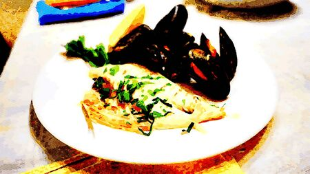 watercolor of a fish dish Sea bream fillet with parsley and lemon mussels
