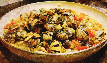 illustration of a pan with sauce with clams with white wine, fresh tomatoes, garlic and parsley
