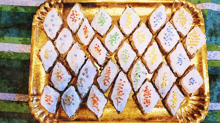 watercolor of a tray with traditional Sardinian sweets