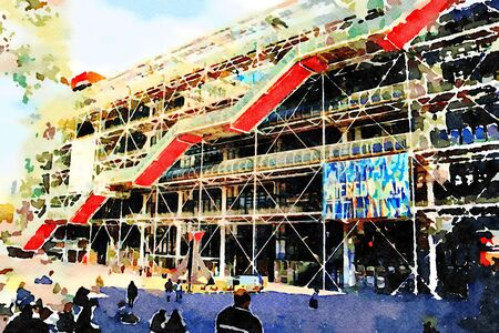 watercolor of a facade of the center pompidou in Paris 스톡 콘텐츠 - 135410707