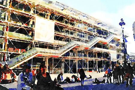 watercolor of a facade of the center pompidou in Paris