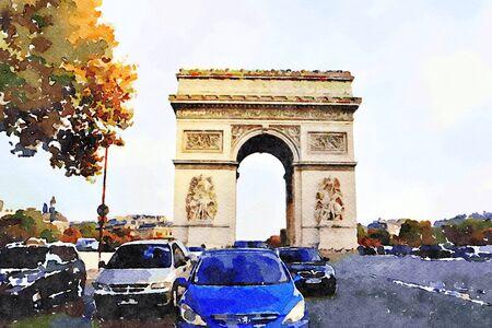 watercolor of the arc de triomphe in Paris