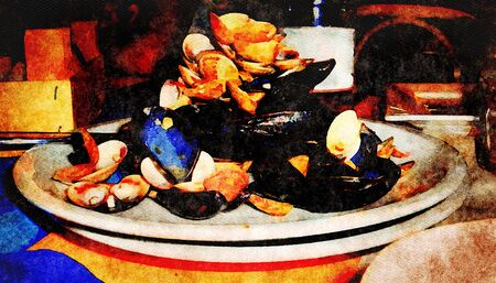 illustration of a plate of mussel shells and clams just eaten 스톡 콘텐츠