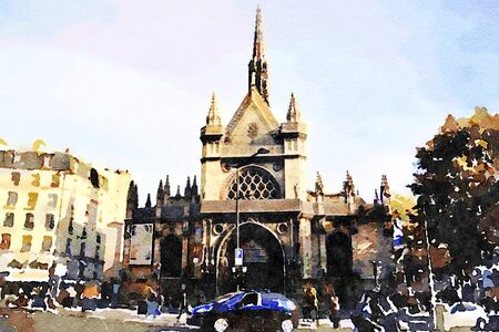one of the small Gothic churches in the center of Paris 写真素材