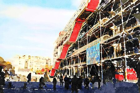 a facade of the center pompidou in Paris on an autumn day 스톡 콘텐츠 - 135410904