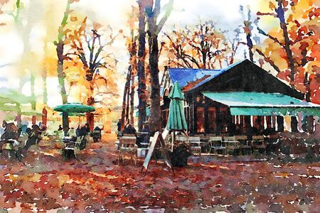 watercolor representing the fountain gardens in central Paris in the autumn 스톡 콘텐츠