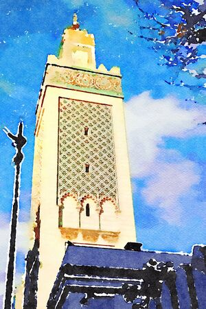 watercolor representing the great mosque of Paris in the autumn 写真素材