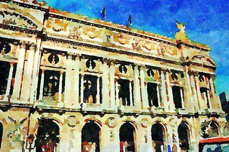 watercolor representing the main facade of the Paris Music Academy