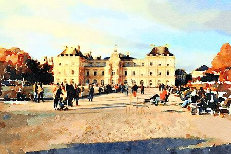 watercolor representing the palace at the fountain gardens in central Paris in the autumn