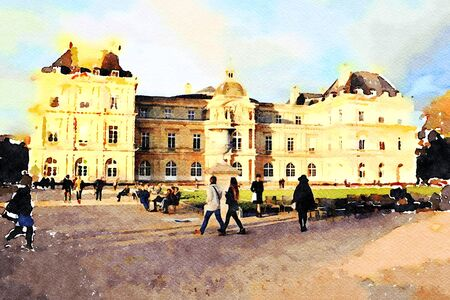 watercolor representing the palace at the fountain gardens in central Paris in the autumn 스톡 콘텐츠 - 135411186