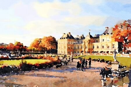 watercolor representing the palace at the fountain gardens in central Paris in the autumn 스톡 콘텐츠 - 135411235