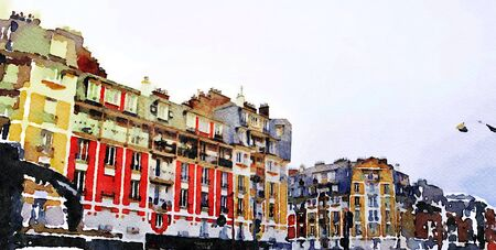 aquarello representing the facades of historic buildings in one of the streets of Paris