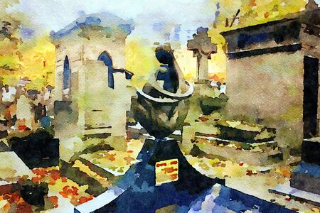 watercolor representing a tomb statue and chapels in the cemetery of Montmartre in Paris in the autumn
