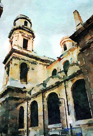 watercolor representing one of the churches in the center of Paris