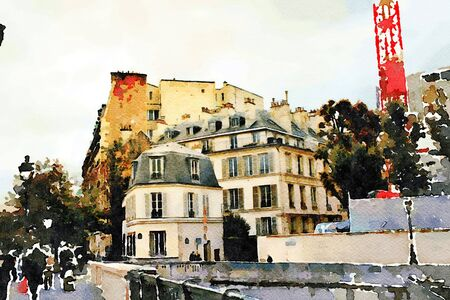 watercolor representing a glimpse of one of the streets of Paris in autumn